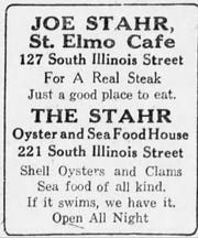 Joe Stahr advertisement for St. Elmo Cafe and his Oyster and Seafood House in 1923.