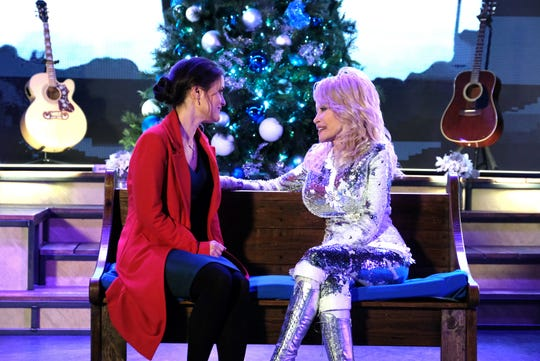 "Danica McKellar and Dolly Parton star in   a scene together in the new Hallmark movie ""Christmas at Dollywood."""