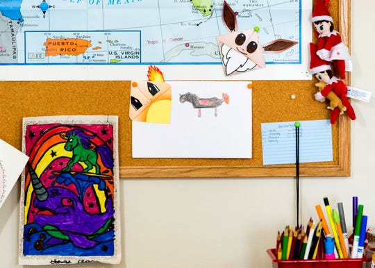 Pokemon creations hang on a bulletin board behind the desk where Knoxville mother Tammy Wenhame teaches classes through Outschool at her home on Monday, December 2, 2019.