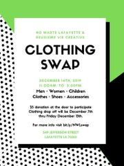 Lafayette Clothing Swap makes shopping and reducing waste easy. The Dec. 14th event has guidelines, so be sure to check before you attend.
