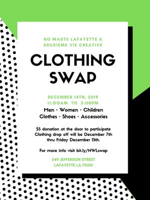 LafayetteClothing Swap makes shopping and reducing waste easy. The Dec. 14th event has guidelines, so be sure to check before you attend.