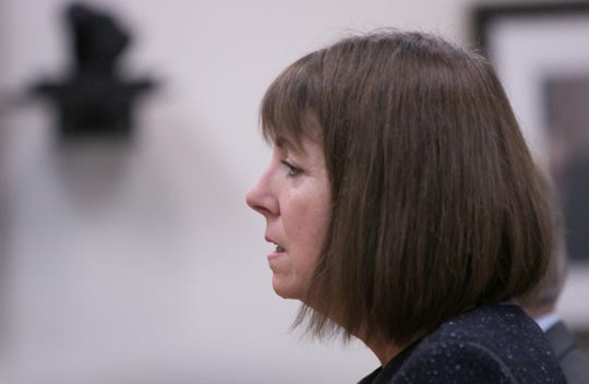 """Former judge Theresa Brennan admits to lying when testifying that she was """"joking"""" about asking how to delete files from her phone, in a plea hearing Tuesday, Dec. 3, 2019."""