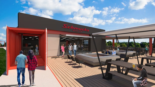 An architectural rendering shows how a new microbrewery coming to Howell Township will feature a shipping container entrance and outdoor patio with firepits.