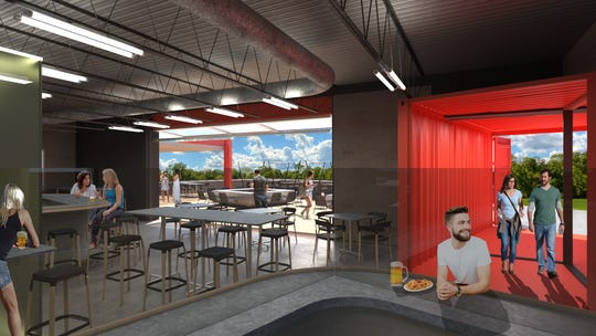 An architectural rendering shows what the interior of Schmuck's Brewing Company's new microbrewery will look like.
