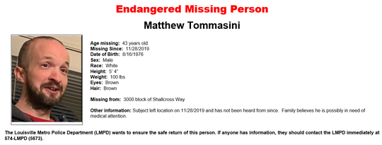 Matthew Tommasini has been missing since Nov. 28.