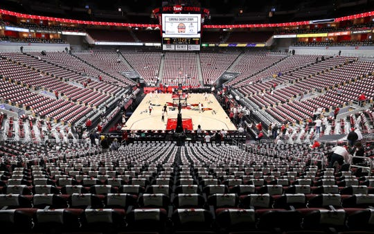 The KFC Yum Center ahead of No. 1 Louisville's whiteout matchup against No. 4 Michigan on Dec. 3, 2019.