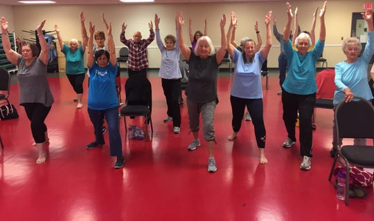 A favorite pose among the Marion Family YMCA's chair yoga participants, Warrior I strengthens shoulders, arms, legs, ankles and back; encourages good circulation and respiration; and energizes the entire body while improving focus, balance and stability.
