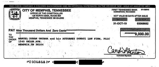 An image of the $9,000 City of Memphis settlement check to Manuel Duran and his lawyers.