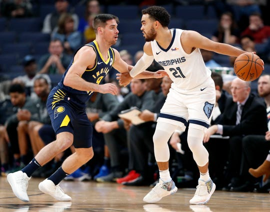 Grizzlies' Tyus Jones (21) looks to move the ball past the Pacers' T.J. McConnell (21) on Monday, Dec. 2, 2019, during a game at FedExForum in downtown Memphis.