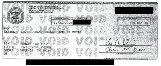 An image of Shelby County's $10,000 settlement check paid to Manuel Duran and his lawyers.