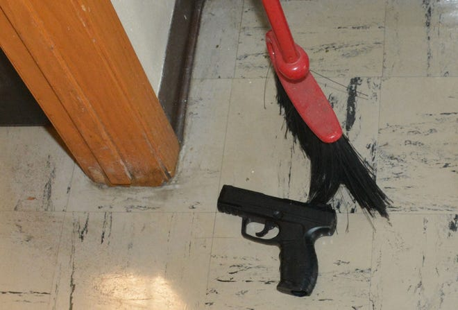 A photo of a pellet gun is shown during a press conference at the Waukesha Police Department in Waukesha on Tuesday, Dec. 3, 2019. Officials gave an update surrounding the school shooting at Waukesha South High School on Monday.