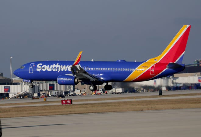 A Southwest Airlines jet takes off at Milwaukee Mitchell International Airport in Milwaukee. Southwest is the market share leader at Milwaukee Mitchell International and continues to add seasonal nonstops at the airport.