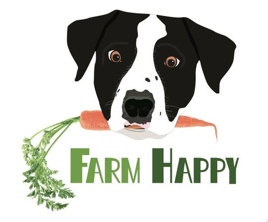The business logo features their dog Beau, the farm's mascot.