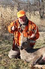Dean Schweisberger of Brookfield, Wis. poses with a buck he shot on opening day of the 2019 Wisconsin gun deer season while hunting near Nelson, Wis.