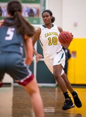Carver's  Bre'Anna Rhodes (10) against Stanhope Elmore at the Carver campus in Montgomery, Ala., on Monday, December 2, 2019.