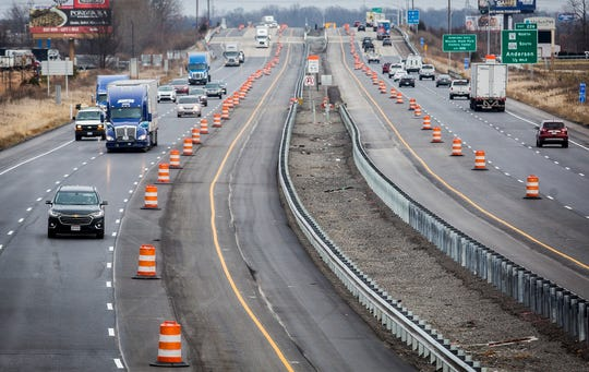 Traffic moves along a stretch of I-69 near the 226 mile marker Tuesday.