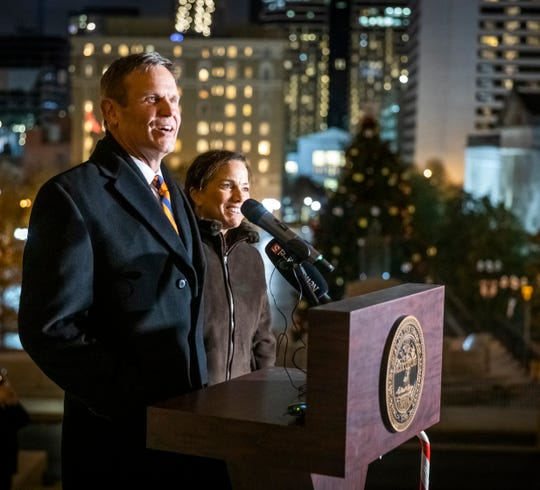Gov. Bill Lee and first lady Maria Lee participate in the Capitol tree lighting Dec. 2, 2019.