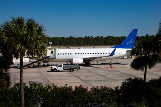 The plane that air charter service Cubazul rents from Swift Air sits on a runway after landing at Southwest Florida International Airport on Tuesday, Dec. 3, 2019, in Fort Myers.