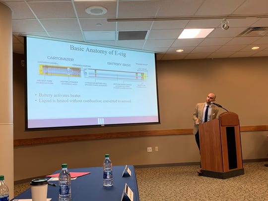 Dr. John Lazar discusses basic information regarding e-cigarettes and vaping during Licking Memorial Health Systems' corporate breakfast on Tuesday, Dec. 3, 2019.