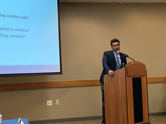 Dr. Rajive Tandon discusses some questions about the safety of vaping during Licking Memorial Health Systems' corporate breakfast on Tuesday, Dec. 3, 2019.