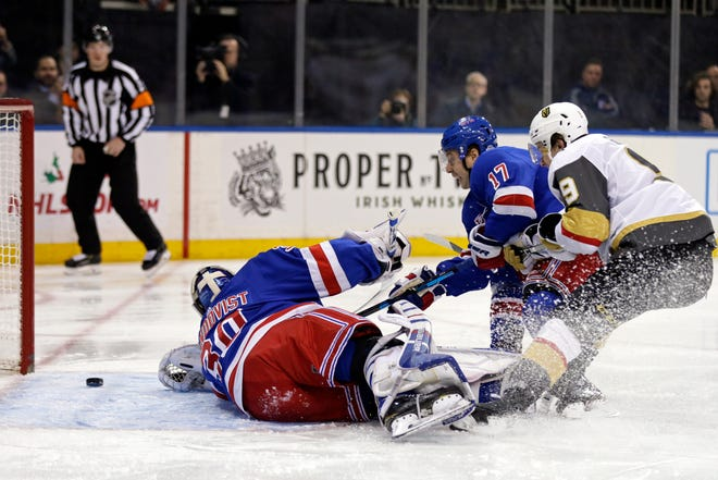 New York Rangers goaltender Henrik Lundqvist (30) gives up a goal to Vegas Golden Knights right wing Alex Tuch (not pictured) during the first period at Madison Square Garden.