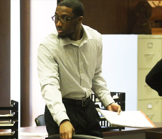 The defendant, Khalil Wheeler-Weaver of Orange in the Essex County Courthouse in Newark on Dec. 3, 2019. Weaver is on trial for murdering three women and attempting to kill a fourth.