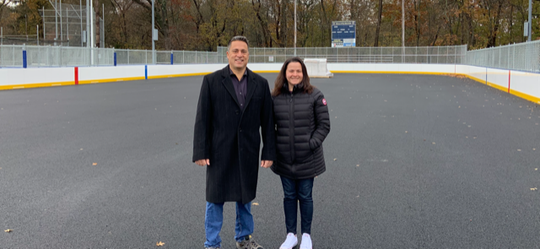 Oakland Recreation Commission Chairman Mike Guadagnino Roller Hockey Commissioner Vivian King at new roller rink, to be dedicated Friday.