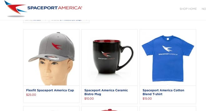 Screenshot from the new gift-shopping page added to Spaceport America's website. Image captured Tuesday, Dec. 3, 2019.