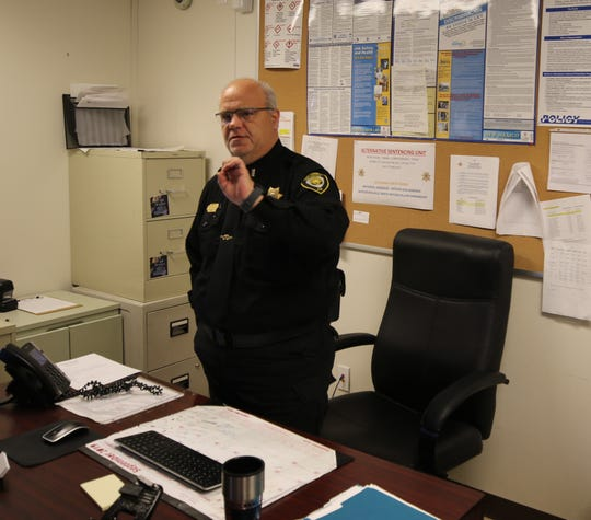 Eddy County Detention Center Lt. Ben Frakes explains the Alternative Sentencing Unit during a Dec. 3 tour to Eddy County Commissioners and administrators.