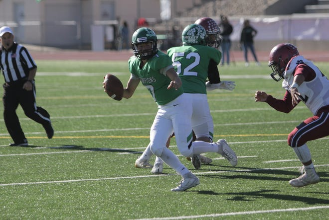 Farmington's Caleb Carrillo, seen here playing against Deming in the 5A state quarterfinals on Saturday, Nov. 16, 2019 at Hutchison Stadium, was named the District 1-5A player of the year.
