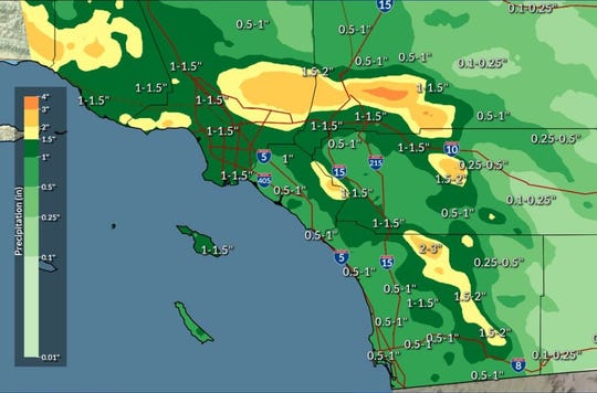 Expected rainfall totals across Southern California.