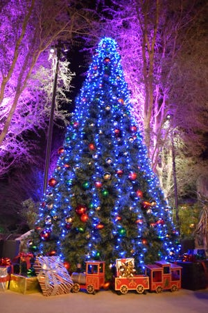 The Christmas tree sparkled at WildLights at The Living Zoo and Gardens.