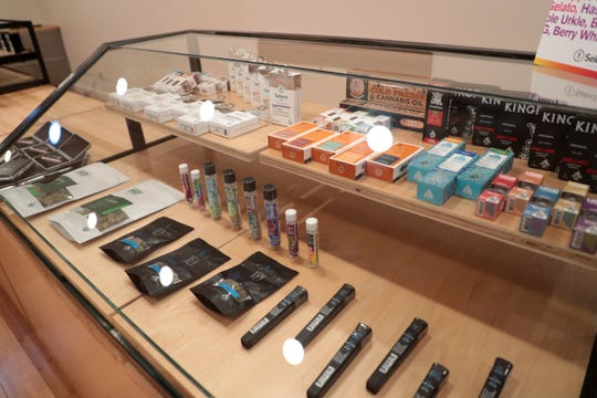 Cannabis products sit inside Harborside's newest dispensary on Monday, December 2, 2019 in Desert Hot Springs, Calif.
