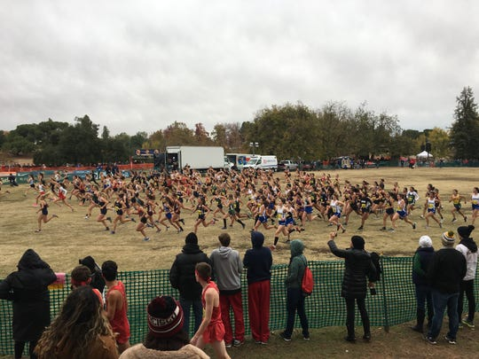 Xavier Prep girls compete in the Division 5 cross country meet, held at Woodward Park in Fresno on Saturday, Nov. 30.