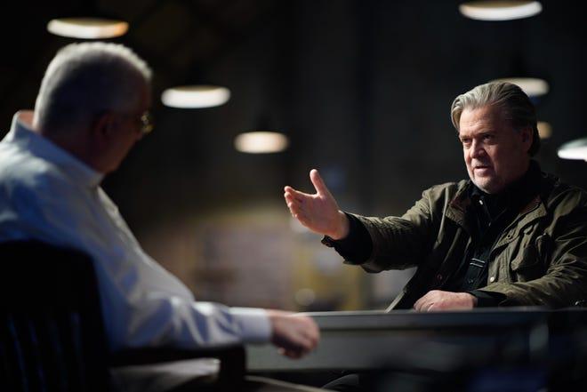 Director Errol Morris (left) talks to Steve Bannon in 'American Dharma.'