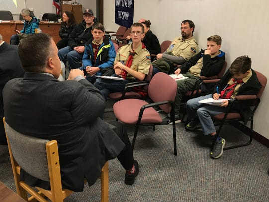 The new infrastructure plan is among the topics Port Clinton Mayor discussed with local Boy Scouts in a recent visit to City Hall.