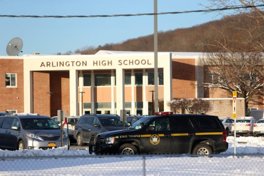 Multiple law enforcement agencies at Arlington High School during a lock down on December 3, 2019.