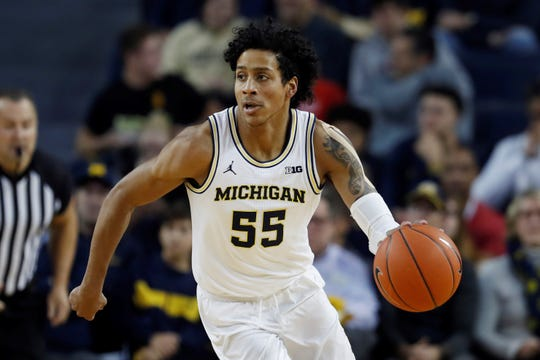 Spring Grove High School graduate Eli Brooks, seen here playing for Michigan earlier this season, is averaging more than 12 points per game for the unbeaten Wolverines.