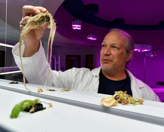 Teacher Justin Weaver shows the root growth of lettuce plants grown in the the West Shore Aquaponics lab, Tuesday, December 3, 2019