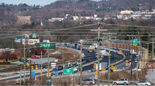 In December, this is looking north on Interstate 83 between the Market Street and Mt. Rose interchanges where lanes are being added with the I-83/Mt. Rose project.