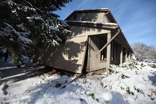 A furnace explosion damaged a home on Wilcox Road in Macedon, Wayne County, on Dec. 3, 2019.