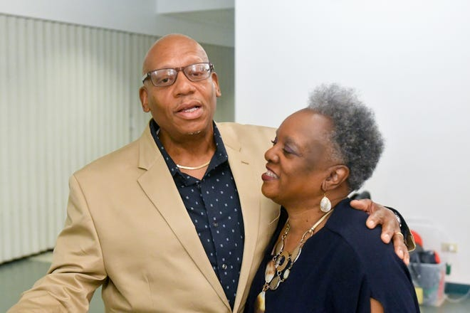 Rock of Ages Baptist Church Deacon Carl Williams, left, and AgeOptions leader Gwen Haney.