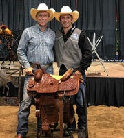 Ty Harris, right, won the 2018 College National Finals Rodeo while competing for Cisco College.