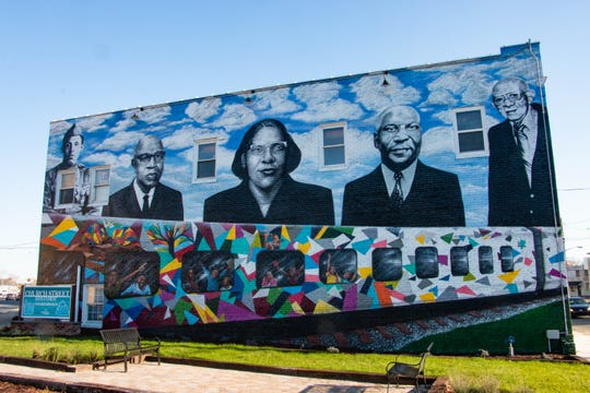 This large mural near Church Street in Salisbury depicts five prominent figures from the area: Sgt. William Butler, Charles P. Chipman, Elaine Brown, James Stewart and Dr. G. Herbert Sembly. It was painted by Paul Boyd III in 2019.