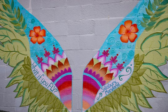 Sarah Perdue and students from Washington High School in Somerset County created this wings mural in downtown Salisbury.