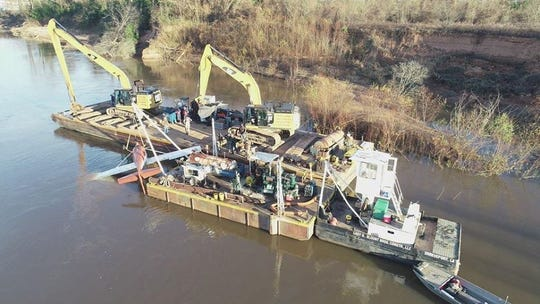 The aircraft that crashed and sank into the Red River in November was recovered on Dec. 2, 2019.