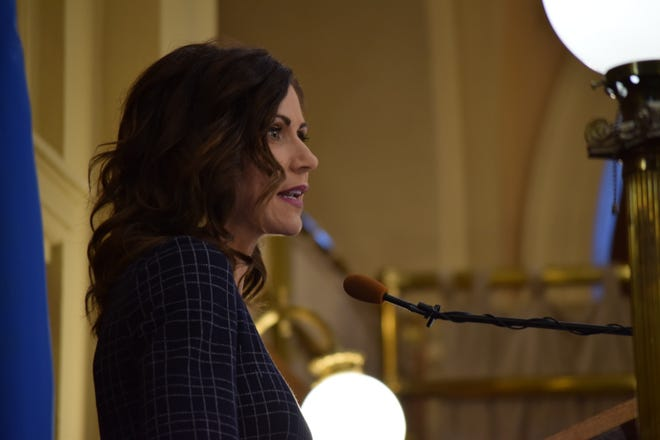 Gov. Kristi Noem announces her 2021 budget to legislators at the Capitol in Pierre on Dec. 3, 2019.