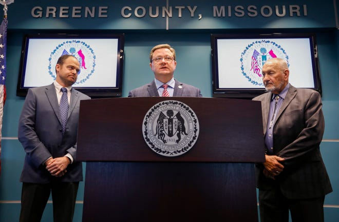 Greene County Presiding Commissioner Bob Dixon, center, along with commissioners Harold Bengsch, right, and John Russell speak during a press conference regarding the purchase of land for a new jail on Tuesday, Dec. 3, 2019.