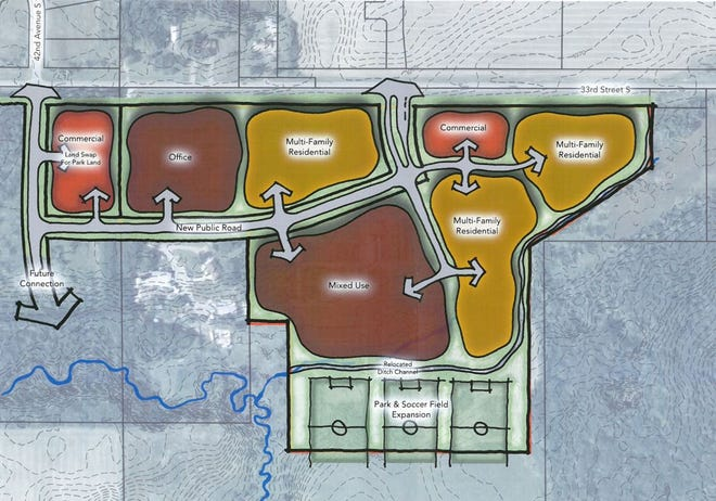 A drawing shows the planned uses for the Klein Landscaping & Nursery site in St. Cloud, which include multifamily houses, commercial space and a field house.