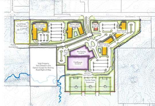 The planned unit development approved for the Klein Landscaping & Nursery site includes apartments, commercial space and athletic areas.